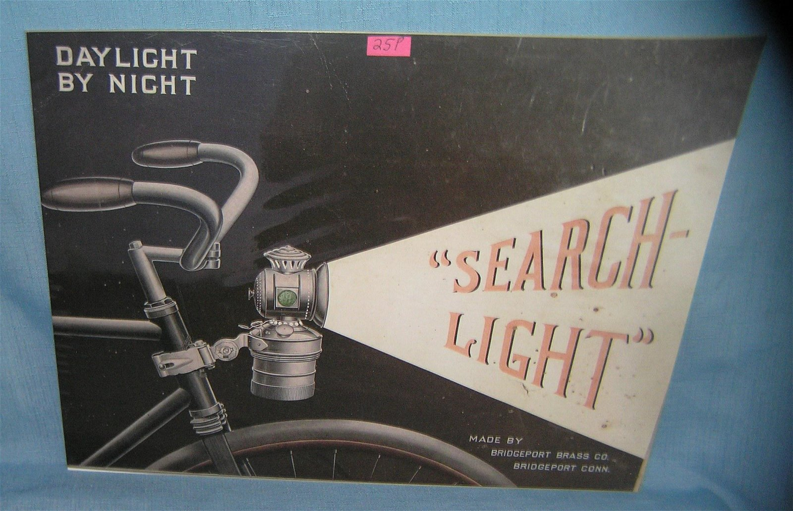 Bicycle search light retro advertising sign