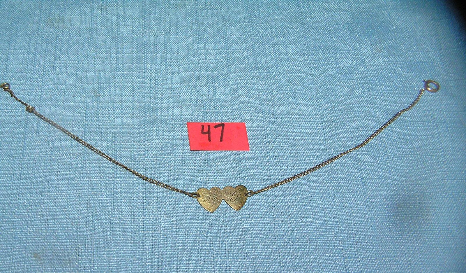 12K gold filled heart shaped ankle bracelet