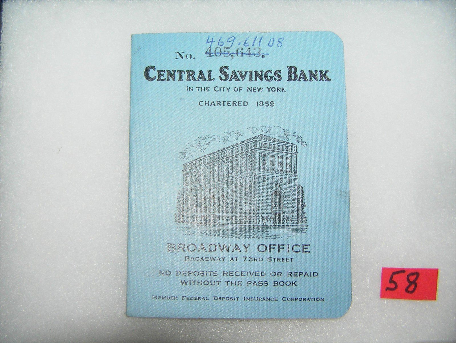 Central Savings Bank savings book circa 1950's