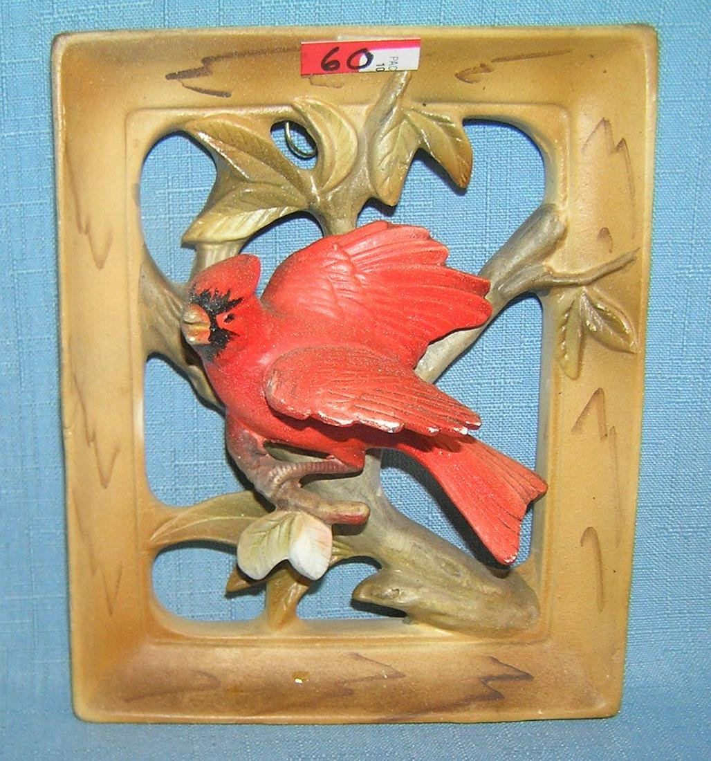 Porcelain hand painted cardinal wall plaque