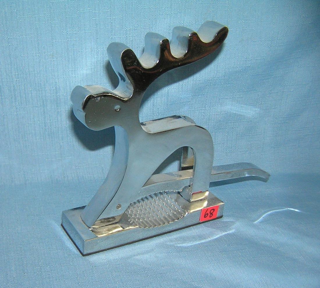 Chromed metal reindeer nutcracker