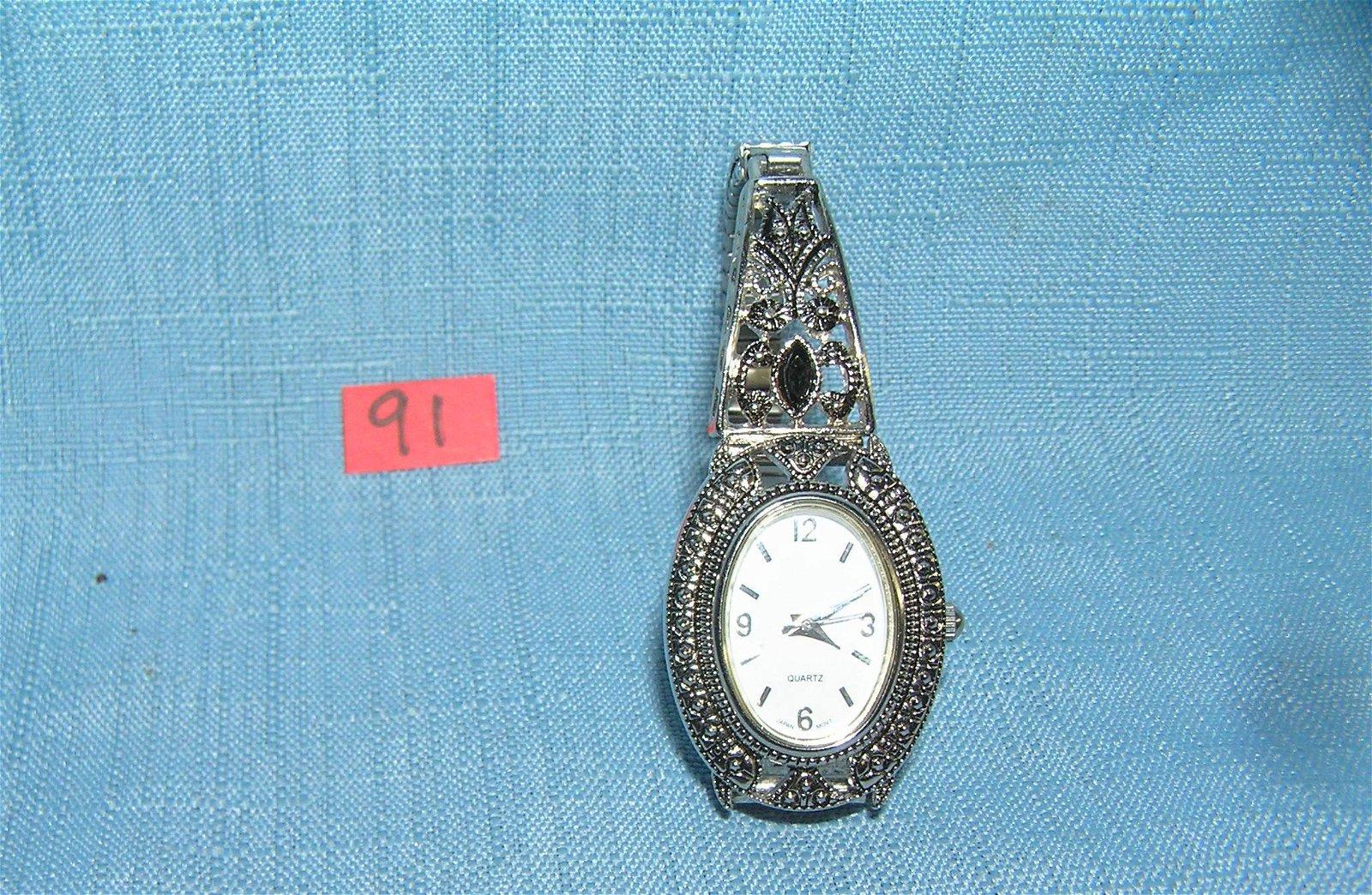 Fancy silver toned ladies' wrist watch