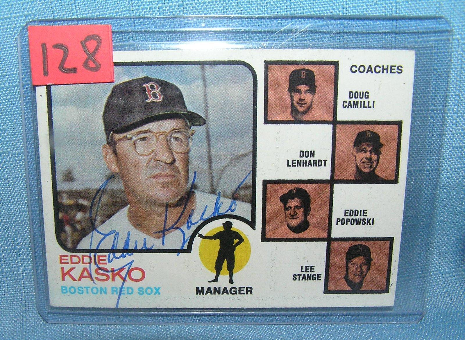 Eddie Kasko autographed Red Sox baseball card