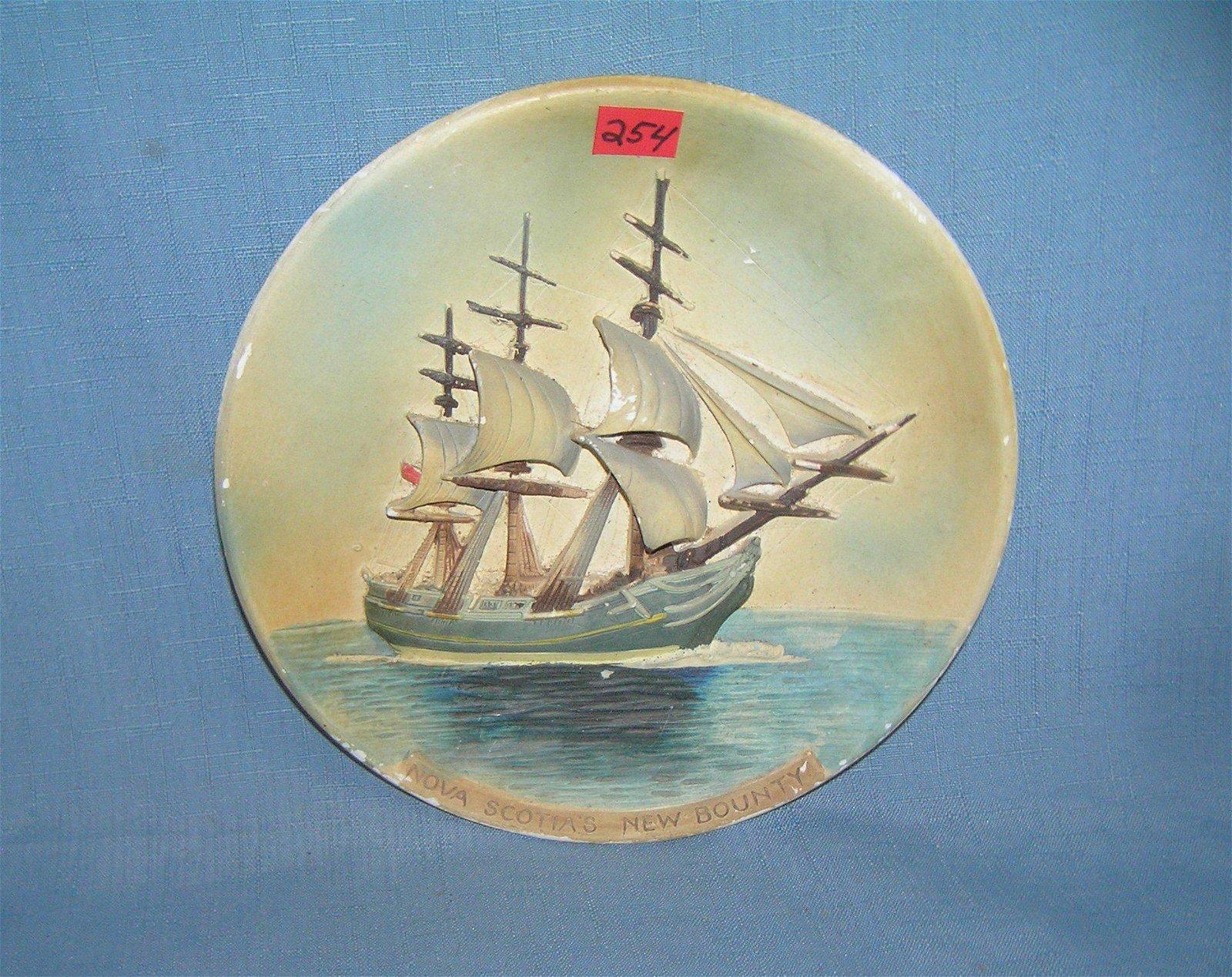 Nova Scotia's New Bounty figural ship wall plaque