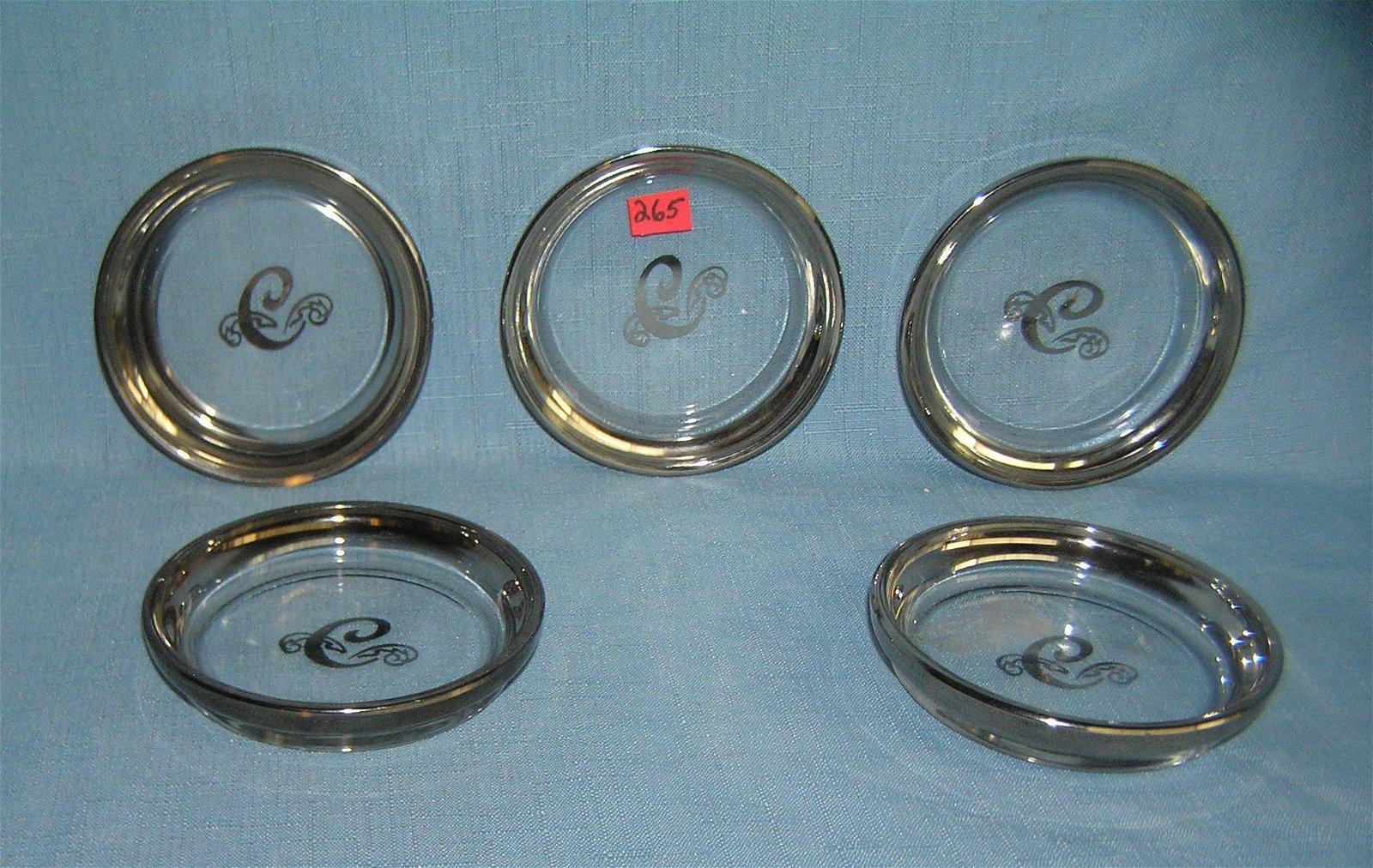 Silver overlay on glass 5 piece vintage coaster set