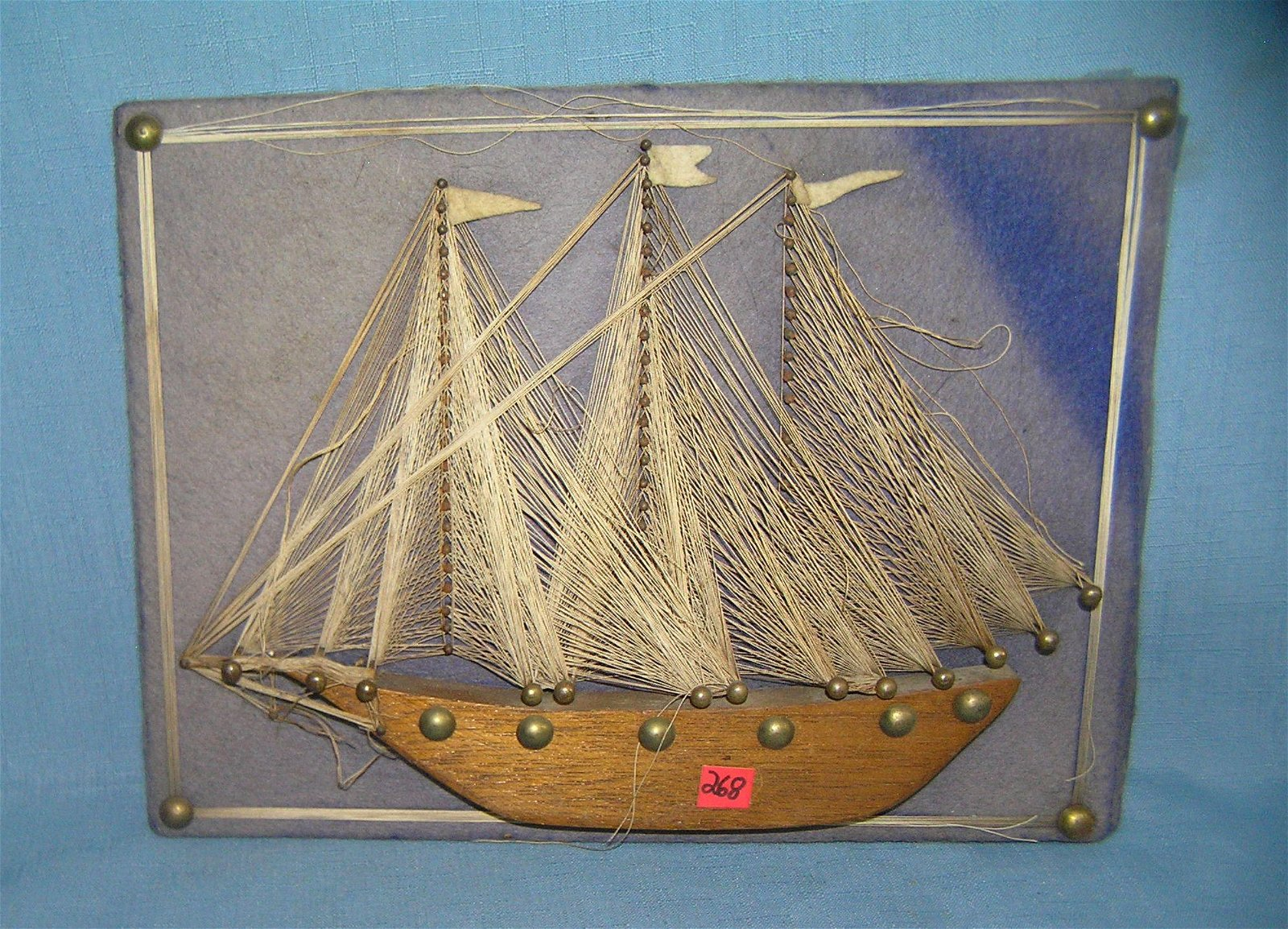 Folk art sailing ship all wood and brass