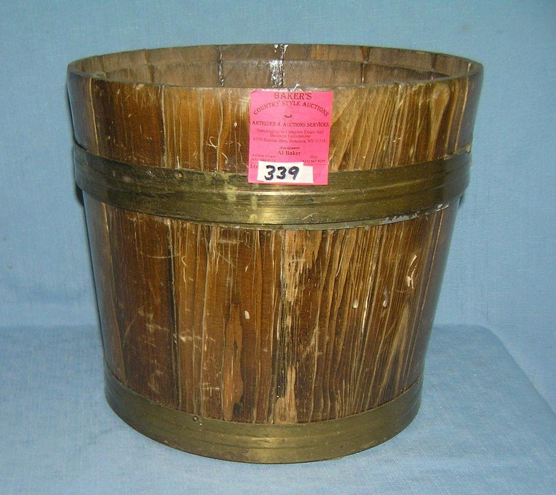Vintage wood and metal flower pot