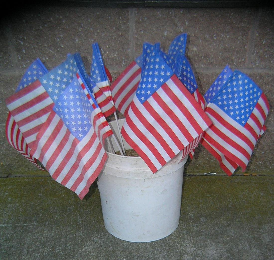 American flag collection, bucket full