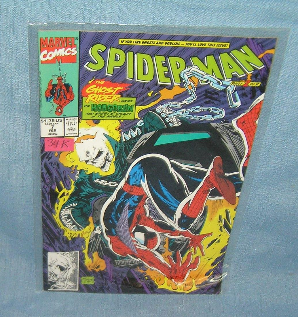 Vintage Spiderman and the Ghost Rider comic book