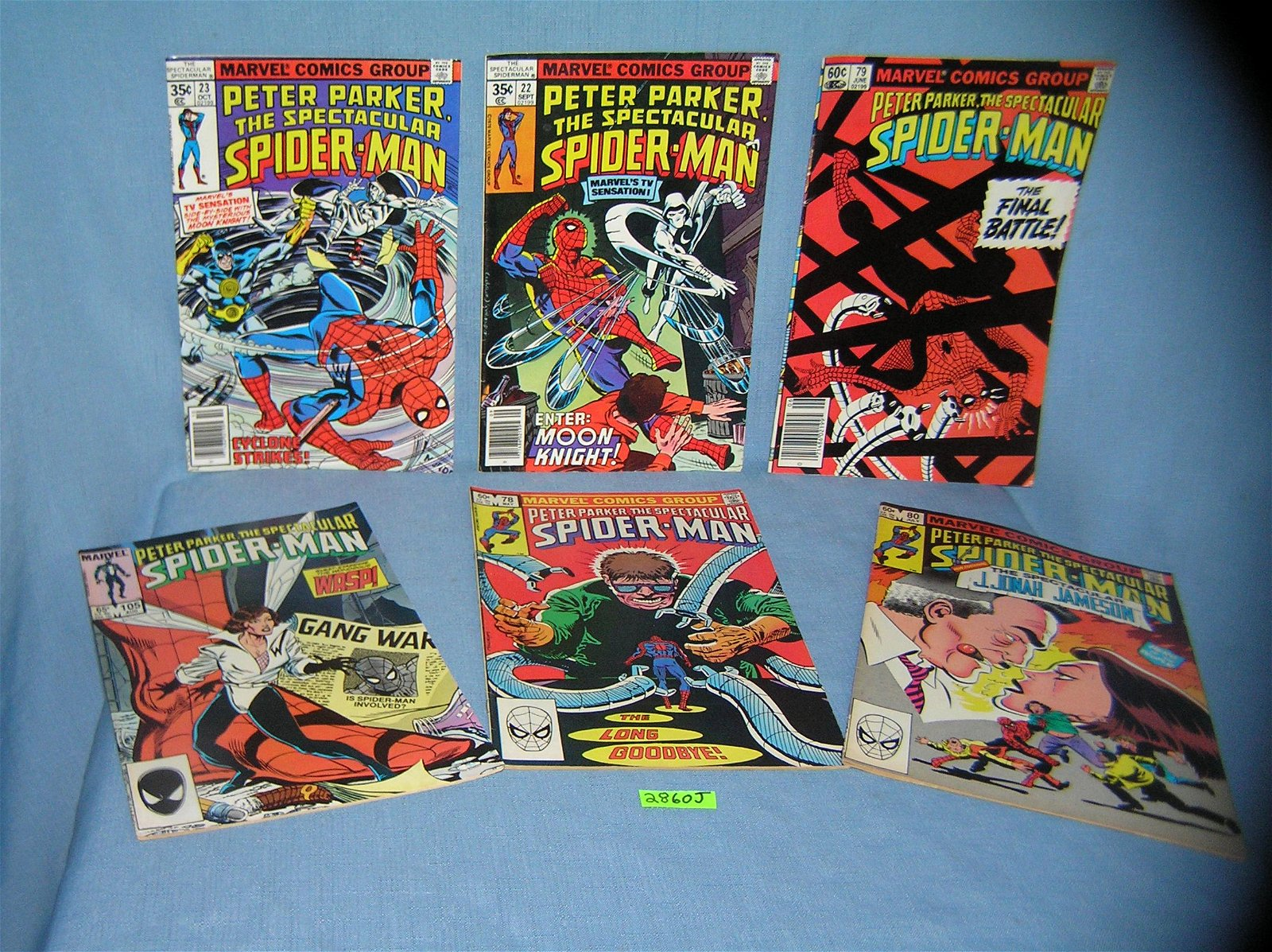 Group of early Spiderman comic books