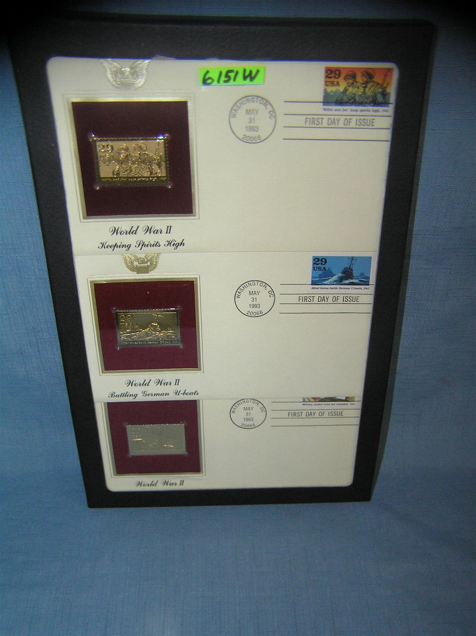WWII themed first day covers and gold tone stamps
