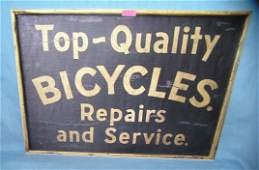 Top quality bicycles repairs  service retro style sign