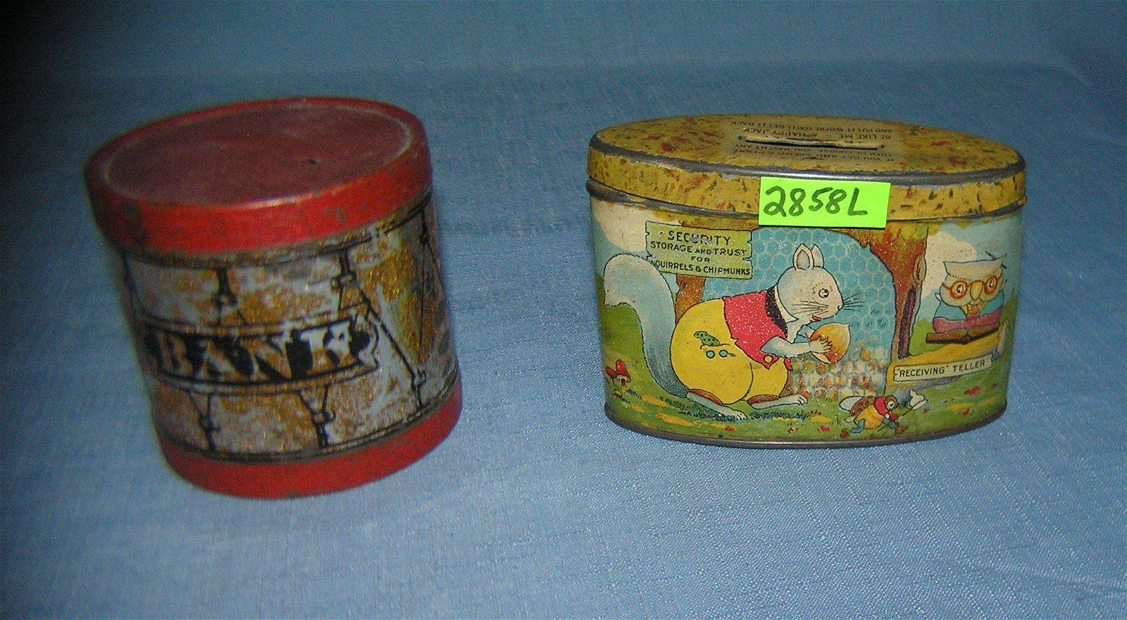 Pair of antique tin banks