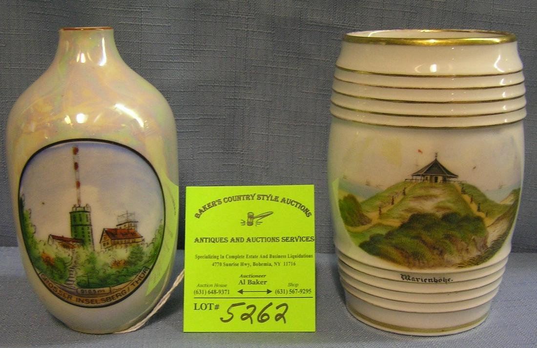 Pair of early German souvenir vases