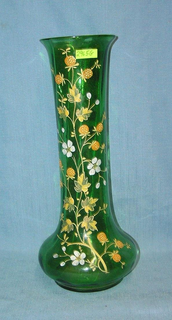 French hand painted art glass vase circa 1930'
