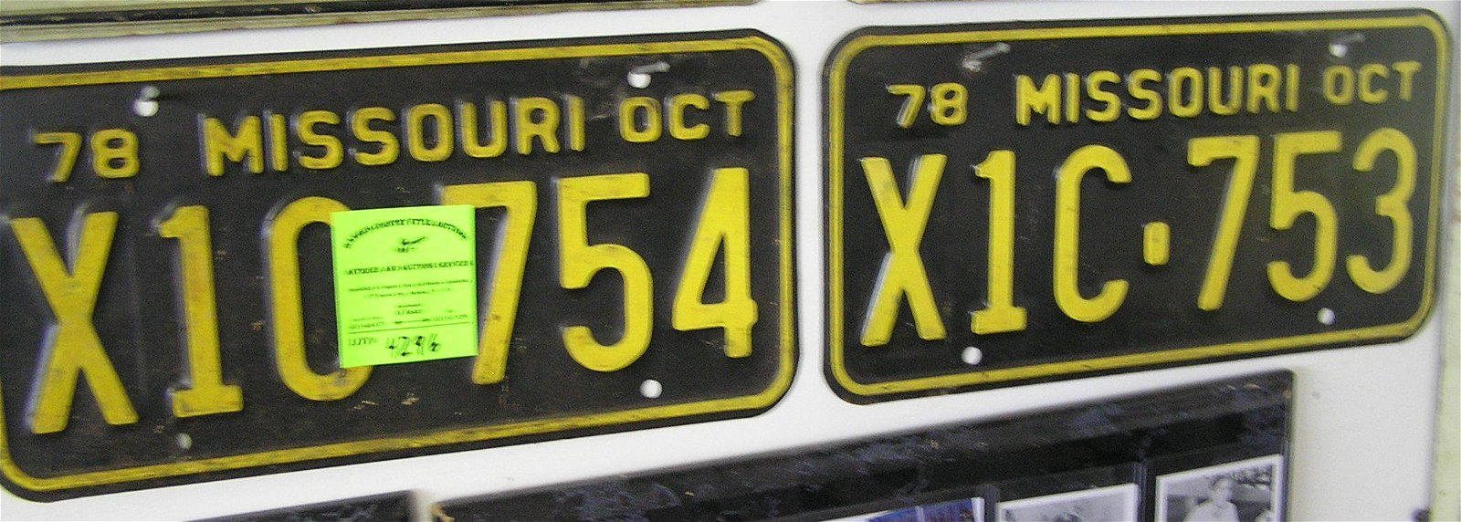 Pair of vintage Missouri license plates