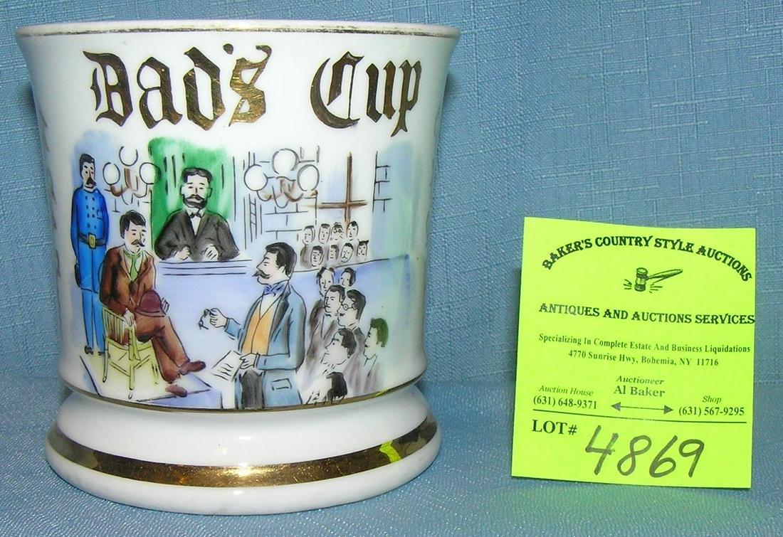 Antique shaving mug titled Dad's Cup