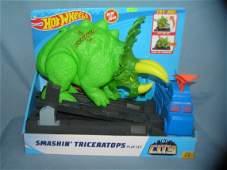 Hot Wheels smashing triceratops action adventure play