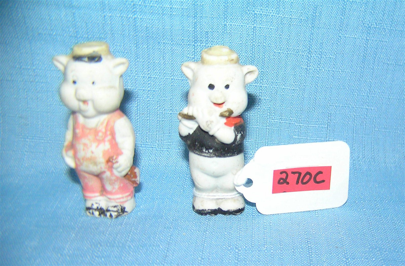 2 of the 3 little pigs signed W. Disney bisque figures