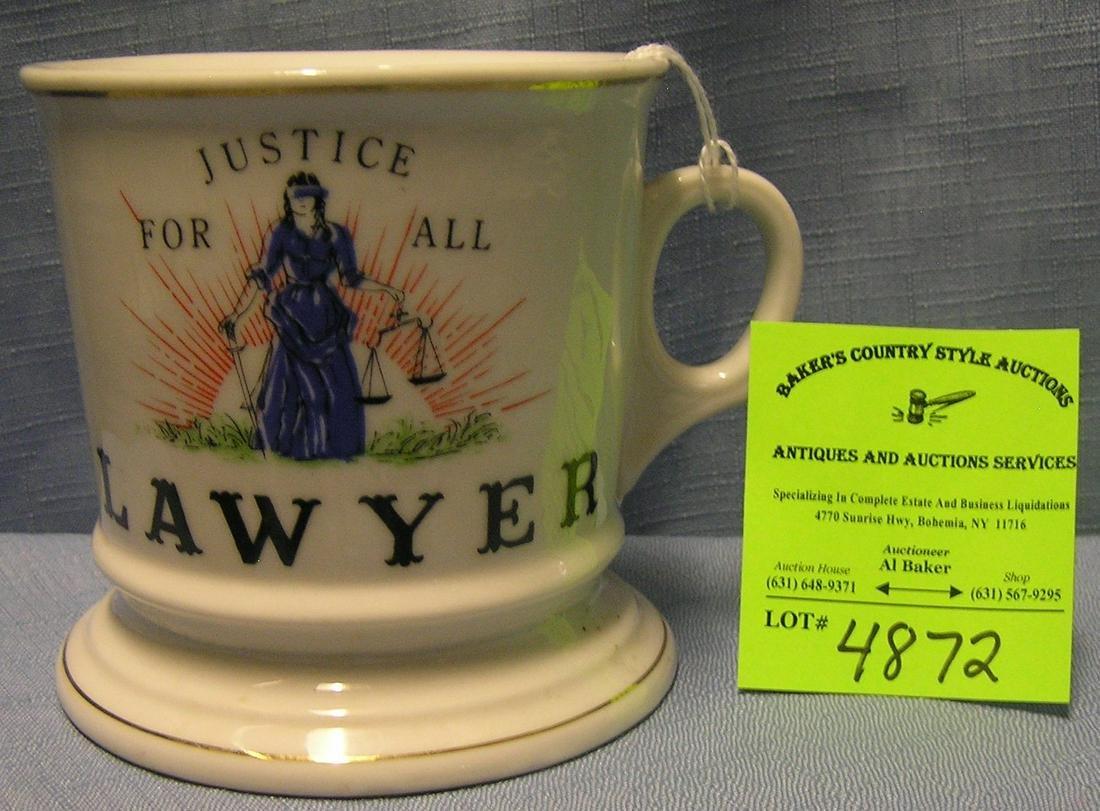 Vintage shaving mug titled lawyer and justice for all