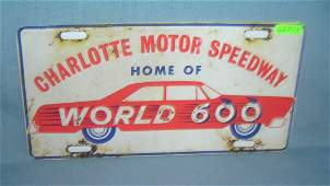 Charlotte Motor Speedway License plate size retro sign