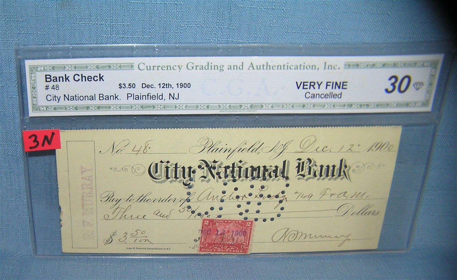 City National Bank bank check of Plainfield NJ