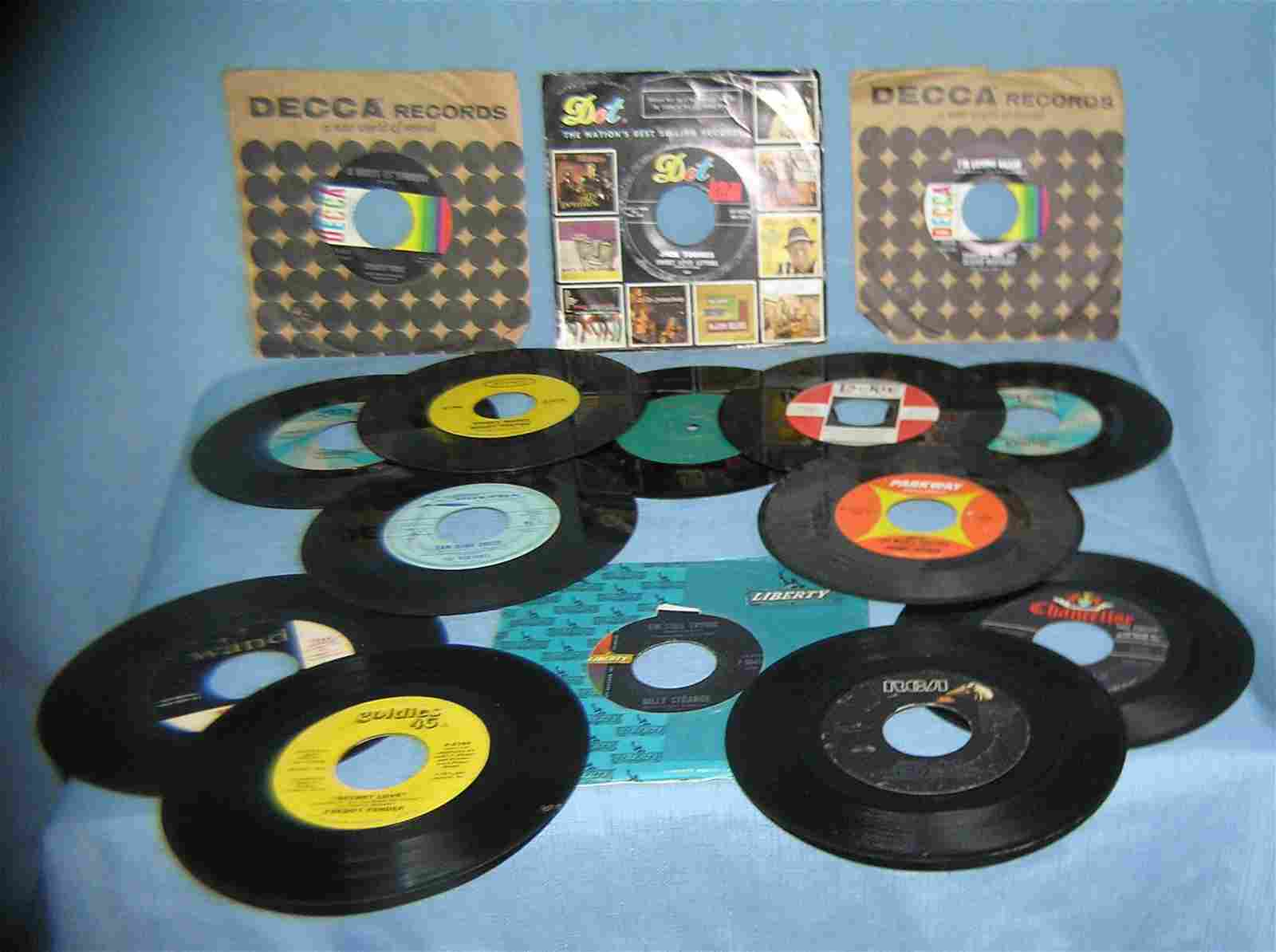 Collection of vintage 45 RPM records