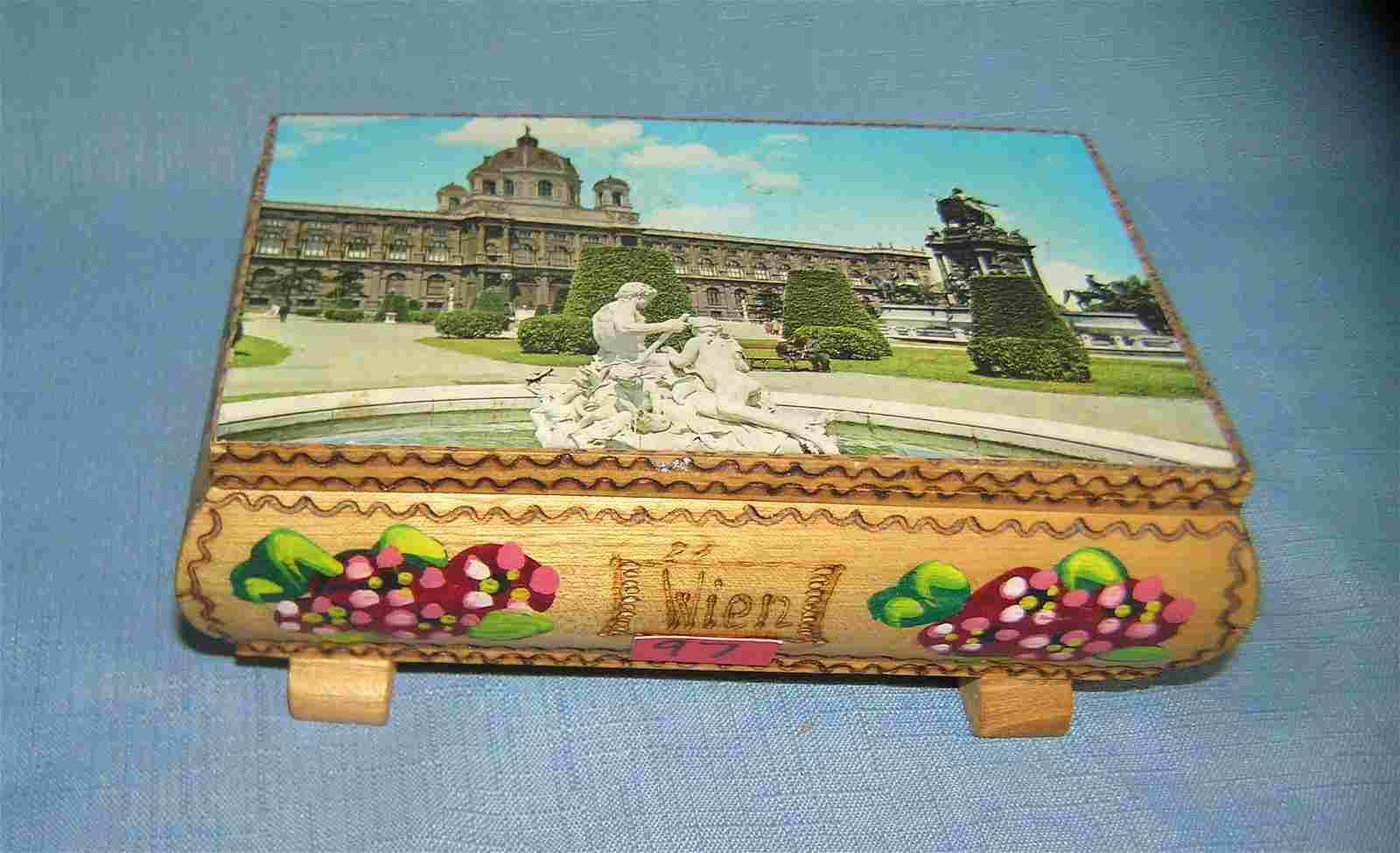 Hand painted Swiss mechanical musical jewelry box