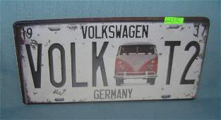 Volkswagen Germany License plate size retro style sign