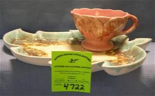 Vintage art pottery leaf shaped cup and saucer set