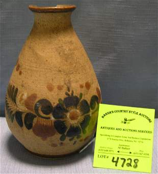 Floral decorated signed Mexican earthen ware vase