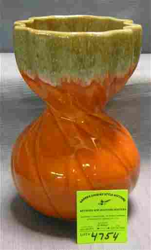 Early two toned art pottery flower vase signed USA