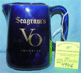 Seagrams advertising whiskey water pitcher