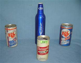 Group of vintage beer and soda cans