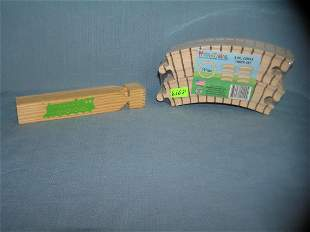 8 piece circle train track set all wood with a train