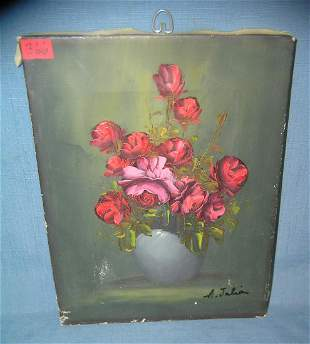 Vintage floral oil on canvas painting artist signed A.