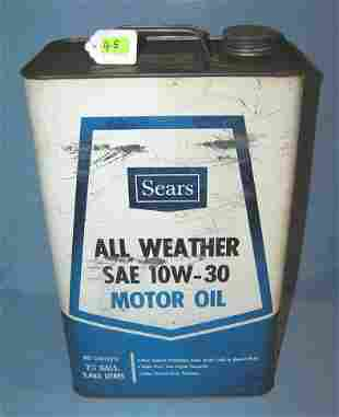 Vintage sears all weather motor oil avertising can