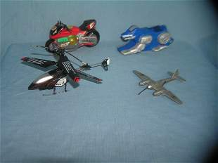 Group of classic toys inc. motorcycle, helicopter,
