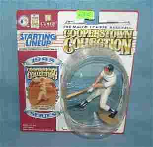Vintage Eddie Mathews baseball figure and sports card