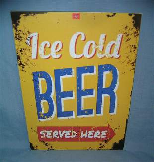 Ice Cold Beer Served Here retro style advertising sign