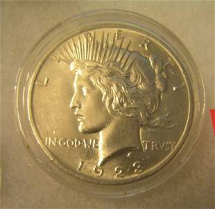 1923 Peace silver dollar in AU condition