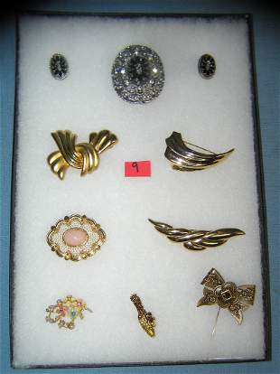 Large collection of quality costume jewelry pins