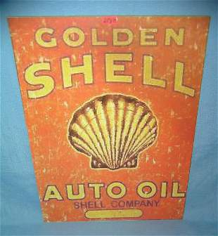 Golden Shell auto oil retro style advertising sign