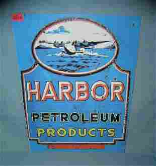 Harbor petroleum products retro style advertising sign