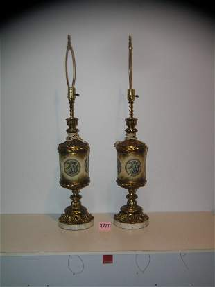 Pair of great early antique table lamps