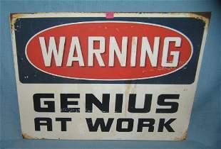 Warning Genius at work retro style advertising sign
