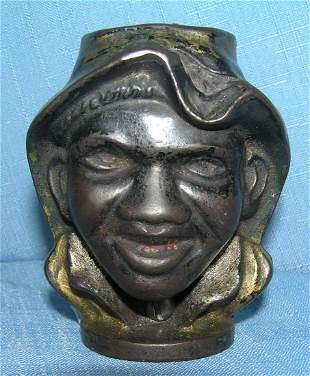 Antique cast iron 2 faced double sided black boy bank