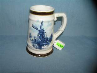 Delftware signed blue windmill decorative beer stein