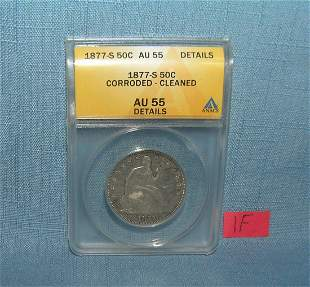 1877S Liberty seated half dollar graded AU55