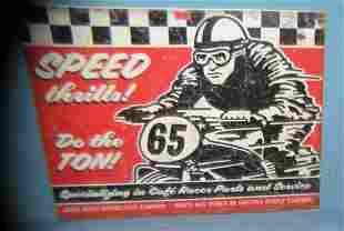 Speed Thrill's Anvil Motorcycle Co. retro style sign